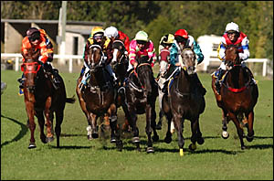 ON THE TURN: Horses in race 5, The Maclean Cup Day Maiden, out of the barrier and into the first turn. Photo: SIMON HUGHES.