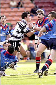 SEAGULLS winger Nat Barnes tries to break through the Toowoomba defensive line during his two-try effort against the Clydesdale