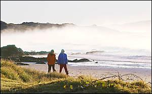 Sunrise stroll at Emerald Beach. Photo: TREVOR VEALE 05062501A