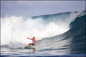 1998 Gromfest winner Bede Durbidge in action in the WCT event at the Reunion Island at the weekend.  Picture: ASP/Tostee.