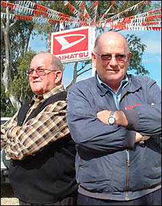 Lismore car dealers Charlie, left, and Jim Johnson are retiring from the industry after 40 years, closing their Johnson & Johns