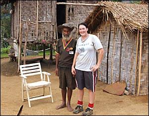 Daily Examiner journalist Emma Cornford with Foley Bakoi, an original ?Fuzzy Wuzzy?, at Menari Village. The Fuzzy Wuzzies were