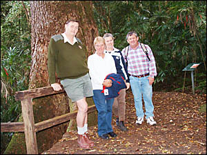 REMEMBERING THE CEDAR KING: NPWS ranger Warren Herbert, left, Margaret Sheridan, Geraldine Yabsley and Eddie Yabsley near a 100