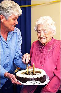 Anne Cooper celebrates her 104th birthday at Bellorana Hostel on Saturday with niece Nola Condon.