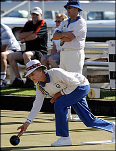 FORMER Australian Indoor champion Di Cunnington delivers her bowl during the Prestige Open mixed singles event at Tweed Heads a