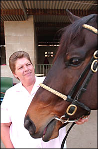 Tracey Campbell with Diamond And Ice yesterday.