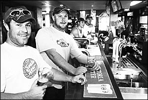 LOYAL PATRONS: Enjoying a beer at the Lennox Point are, from left, Brandon Higgins of Lennox Head, Grant Higgins of Penrith, Ro