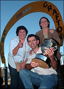 Trainer Felicity Firth, left, celebrates Umatrick?s John Carlton Cup win with owners Russell and Diana Ball.