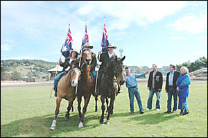 In action at the Lismore Showground are riders, from left, Mel Richardson, Bruce Warburton and Glenn Campbell, with producer Ma