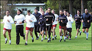 Members of the Adelaide United A-League squad training at Novotel Pacific Bay Resort in the build-up to their practice matches