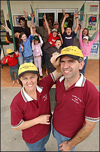 Umatrick?s owners Diana and Russell Ball are cheered on by a group of Tucabia residents yesterday ahead of today?s Ramornie Han