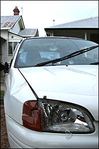 A picture of some of the damage done to former Ramornie-winning jockey Michael Johnson?s car.