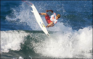 World Championship Tour campaigner Bruce Irons busts an air on his way to winning the Mr Price Pro event at Durban?s North Beac
