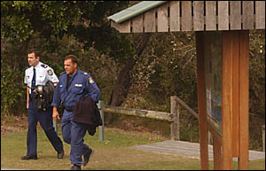 Acting Chief Inspector Stuart Taylor, left, and Senior Constable John Wicken after five hours searching.