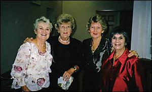 TOGETHER AGAIN: Barbara McLennan (nee Burgess ? Jacaranda Queen, 1959), Helen Attwater (nee McFarlane ? school colleague), Pat
