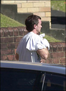 CHARGED: Shane Nicholas Austin, of Brunswick Heads, leaves Lismore Local Court after being bailed on drug supply charges