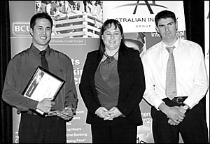 David McAlister with Richelle Grant and last year?s Apprentice of the Year and recipient of the 2004 Norm Beaton Award, Edward