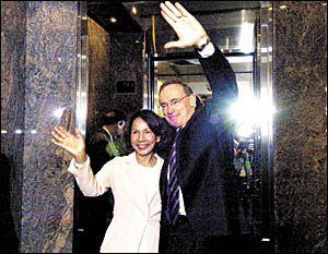 Premier Bob Carr and his wife, Helena, farewell supporters at a recent function. Photo: AAP