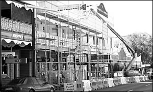 Bellingen?s main street is a network of cranes and scaffolding with renovations underway at three of its iconic heritage sites.