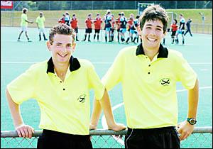 Budding hockey umpires Cameron Alley and Steven Knapman.