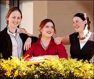 Jacaranda crowning co-ordinator Carrie Bramble, centre, with 2005 Jacaranda Queen candidate Katie Hirst, left, and 2004 Jacaran