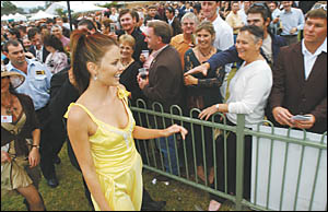 2004 Miss Universe Jennifer Hawkins mingled with the crowds at the Carlton Draught 2005 Coffs Harbour Gold Cup yesterday and wa