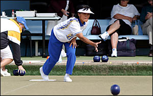 TWEED Heads bowler Carmen Anderson sends one down in yesterday?s Ladies Winter Carnival final against West Australia?s Yvonne L