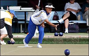 TWEED Heads bowler Carmen Anderson sends one down in yesterday?s Ladies Winter Carnival final against West Australia?s Yvonne L