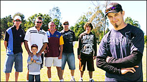 At the Brett Loy Charity Challenge Golf Day in Casino on Sunday were from left, Matt Roberts, of Casino, Jett Bolton, 7 of Nam