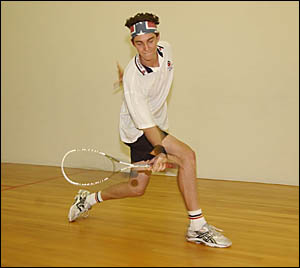 ON THE ATTACK: A file picture of Yamba squash ace Cameron Pilley.