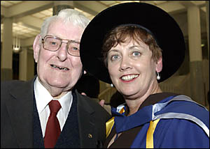 PROUD FATHER: Pat Clarke, who now lives in Canberra but made many life-long friends in Grafton, congratulates his daughter Dr U