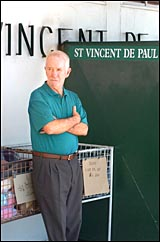 St Vincent de Paul Society Gladstone president Ron Clough is disgusted at the theft of computer equipment.