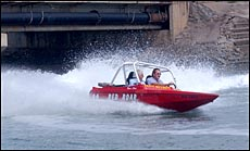 Gladstone?s Darryl Squires churns up the water in his jetsprint boat ?Red Roar?.