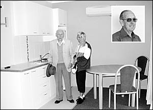 Les Fowler and Barbara Hogbin inspect the unit Mrs Hogbin and her husband, Allen (inset), have named in honour of Mr Fowler, wh