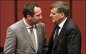 HEAT IS ON: Senators Barnaby Joyce, left, and Bill Heffernan, exchange heated words.
