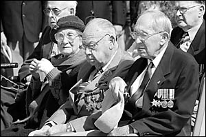 World War II veterans now living in Coffs Harbour including Lyn West (left) and Ken Kennedy, joined many other World War II so
