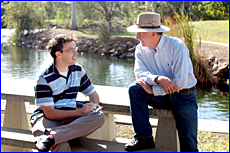 The Observer?s Gregor Mactaggart with former Australian cricket captain Ian Cha Australian cricket captain Ian Chappell.