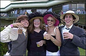 ALL TOGETHER NOW!  Students and truckies, who will share the facilities at the Lismore races today.