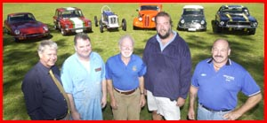 Toowoomba motoring enthusiasts discuss preparations for the weekend?s 10th annual Leyburn Sprints. Picture: BEV LACEY