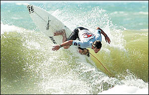 Shaun Cansdell, an Australian pro surfer wins the Lacanau Pro Surfing at Lacanau, south-western France on Sunday.