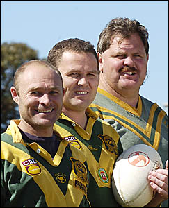Boys just want to have fun . . . Matt Bye, left, Nathan Bye and Aaron Gill are loving Orara Valley?s reserve grade team being m