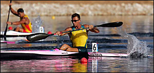 Byron Bay?s Nathan Baggaley in action at the 2004 Olympics, where he collected two silver medals.