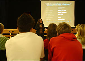 Sue Dengate addresses high school students at South Grafton High School hall this week, informing them about the foods they eat