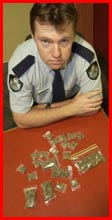 Constable Bill Thorne with cannabis seized on Wednesday night. Picture: BEV LACEY