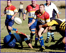 Gladstone GRUFs halfback Jason Shepherd in action.