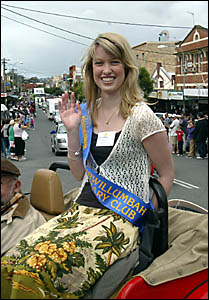 MURWILLUMBAH Rotary Club queen candidate Catherine Nolan, riding in the Festival parade on the way to the showground was not to