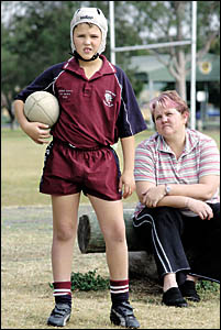SIDELINED: Nathan Davy, 10, of Casino, with his mother Terri Davy. Nathan was prevented playing in a junior rugby league match