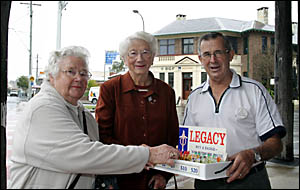 DOING their bit to help Legacy continue its worthy work are Marj Willis, Betty Johnson and Kevin Cheetham, who hope Murwillum-