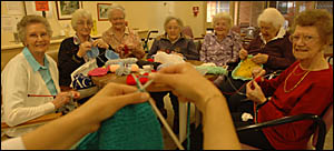 TEAM EFFORT: St Catherine?s knitters, from left, Mona Pearle, Marie Taylor, Ivy Triggell, Jesse Martin, Joan Campbell, Elsie St