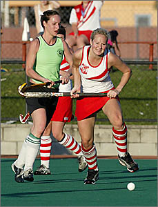 WARATAHS defender Perrea Dunn (right) breaks clear of Kingscliff rival Tanya Senti during the A Grade hockey grand final at Mur
